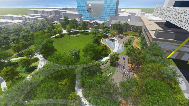Looking north across a revitalized Grange Park, image courtesy of Grange Park Advisory Committee