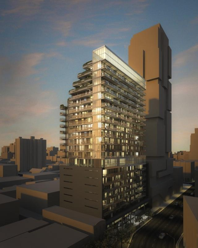 Looking northeast towards 25-storey version of 330 Richmond Condos, designed by Core Architects for Greenpark Homes