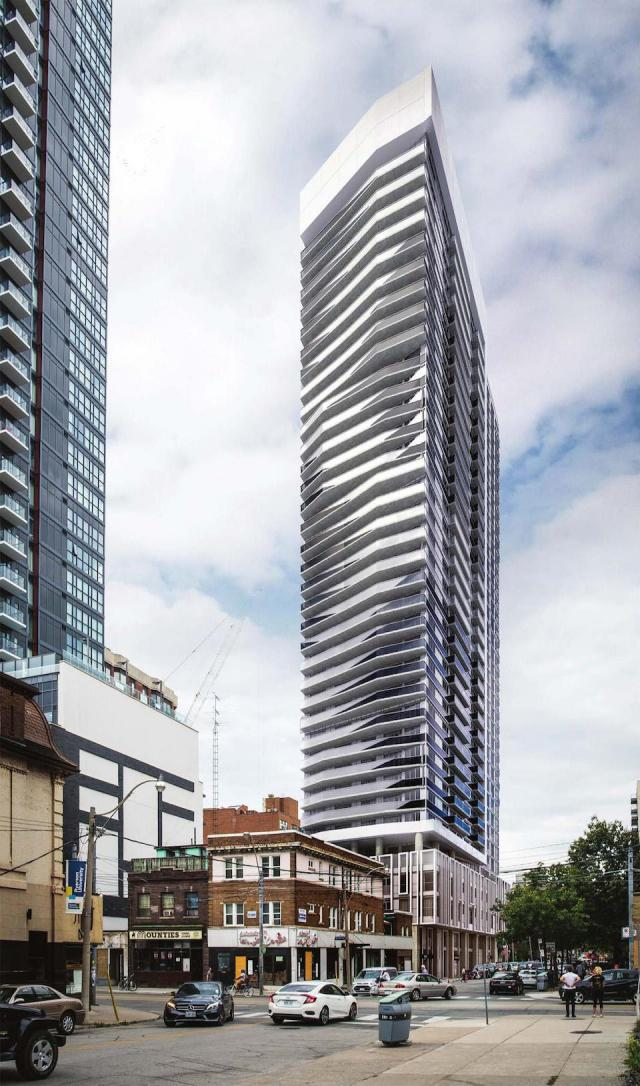 Looking southeast towards Max Condos, designed by Graziani + Corazza Architects for Tribute Communities and Greybrook Capital