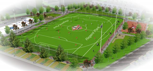 Aerial rendering of the Regent Park Athletic Grounds