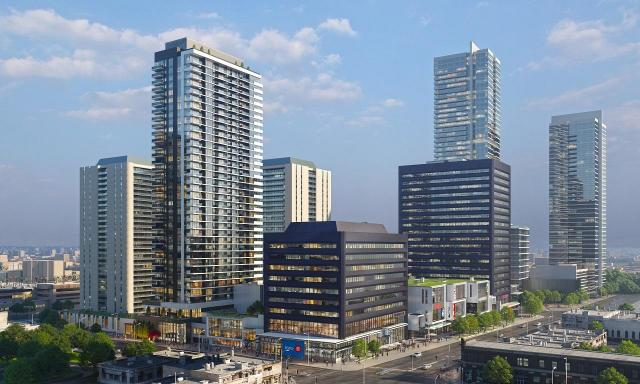 Looking southeast to Yonge Sheppard Centre, Renovations and Expansion, by Quadrangle Architects for RioCan and KingSett Capital