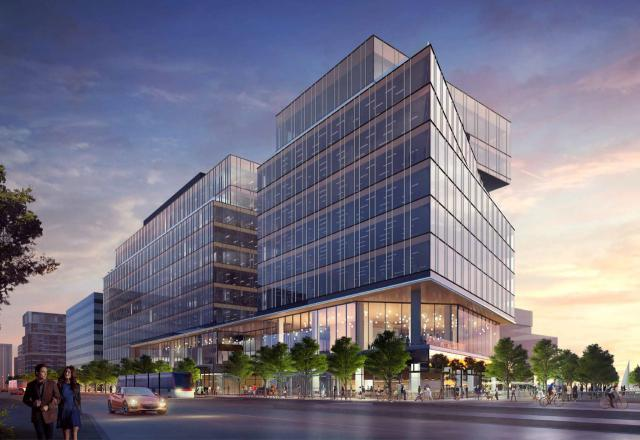 Looking southeast to the Waterfront Innovation Centre, redesign by Sweeny&Co for Menkes and Waterfront Toronto