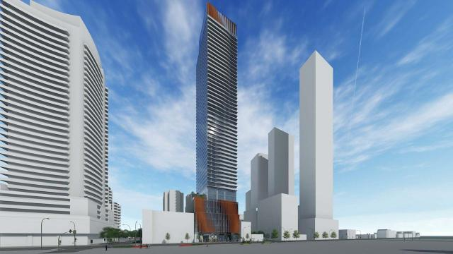 Looking southwest to 55 Eglinton Avenue East by Kirkor Architects for State Building Group