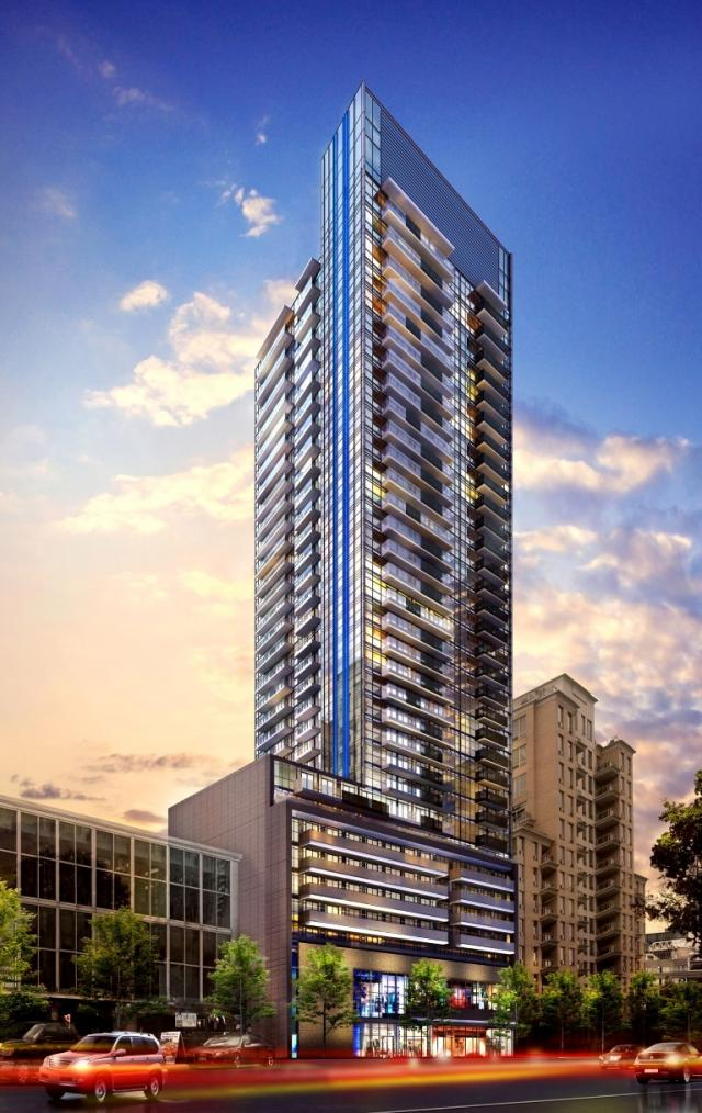 Looking southwest to The Eglinton, designed by Giannone Petricone Associates for Menkes