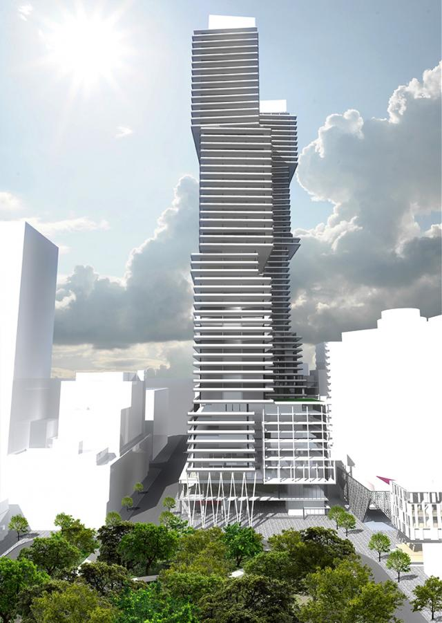 Preliminary Concept, 400 Front Street, looking east towards Downtown Toronto, image courtesy of the State Building Group