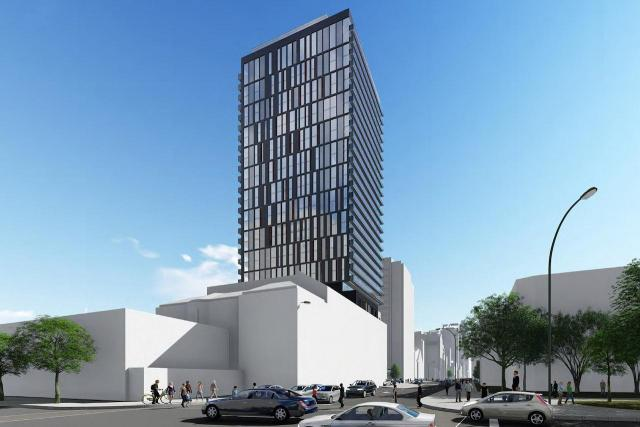 Looking northeast to 316 Bloor West from Spadina, designed by Kirkor Architects for State Building Group