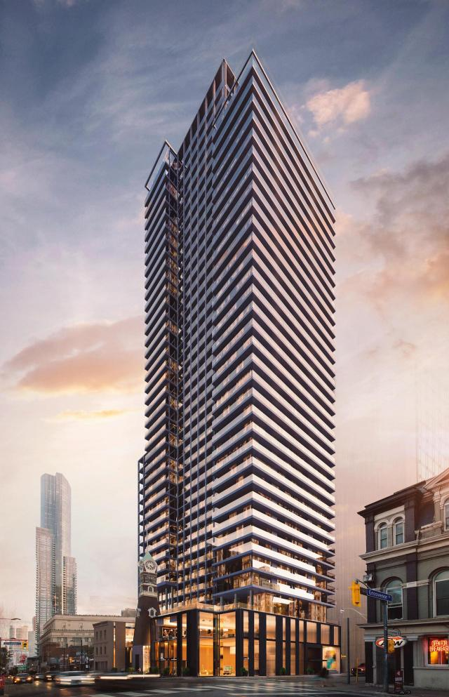 Looking southwest to Halo Residences on Yonge, designed by architectsAlliance for Cresford Developments