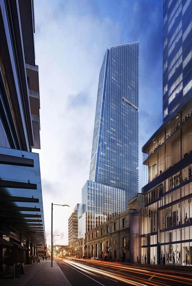 Third plan, 85-storey version looking east to YSL Residences - Yonge Street Living, designed by KPF for Cresford