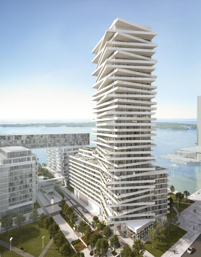 Looking south at the Tower at Pier 27, designed by architectsAlliance for Cityzen