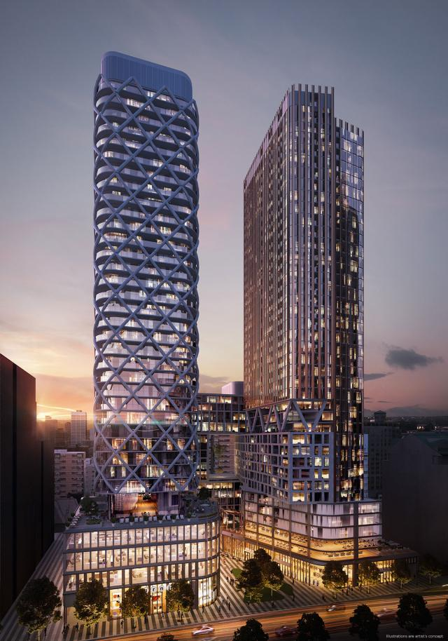 Looking west to Artists' Alley, designed by Hariri Pontarini Architects for Lanterra Developments