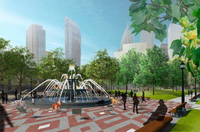 Plaza and fountain at Berczy Park, designed by Claude Cormier + Associés