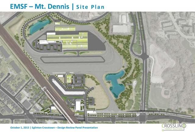 The site plan for the Mt. Dennis Station and EMSF, image courtesy of Metrolinx