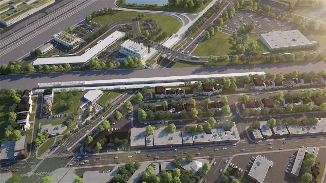 Mount Dennis Station Aerial View Northeast, Crosstown LRT, image courtesy of Metrolinx