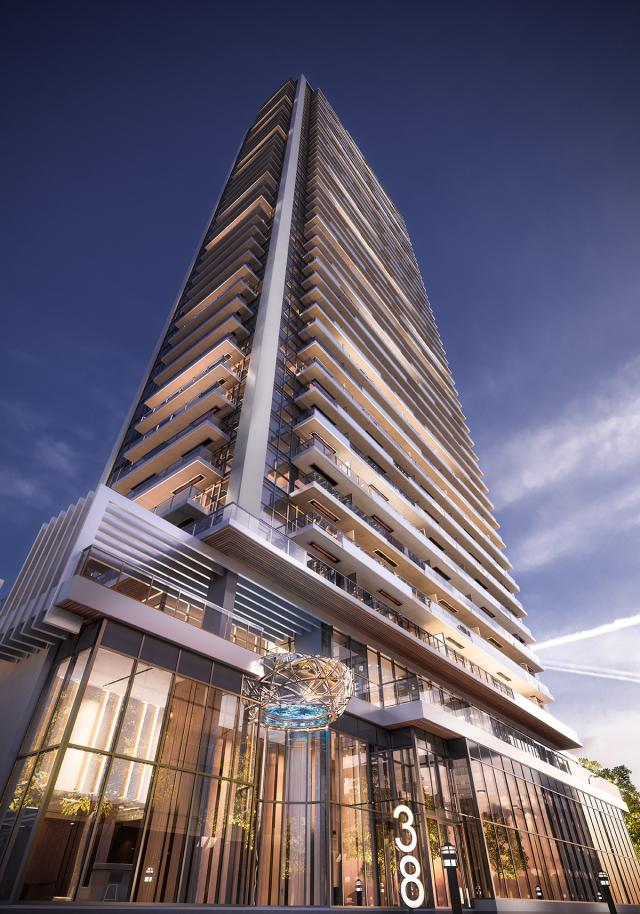 Looking up at Central Condos, designed by DIALOG for Concord Adex
