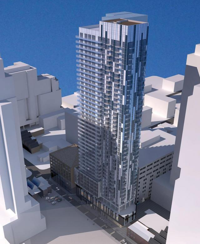 Looking southwest to 40 Widmer Street, designed by Graziani + Corazza Architects for Storey Living