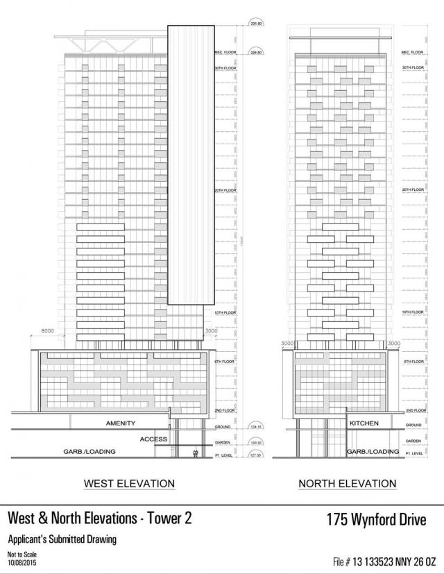 Tower 2 north and west elevations, Don Valley Hotel Redevelopment