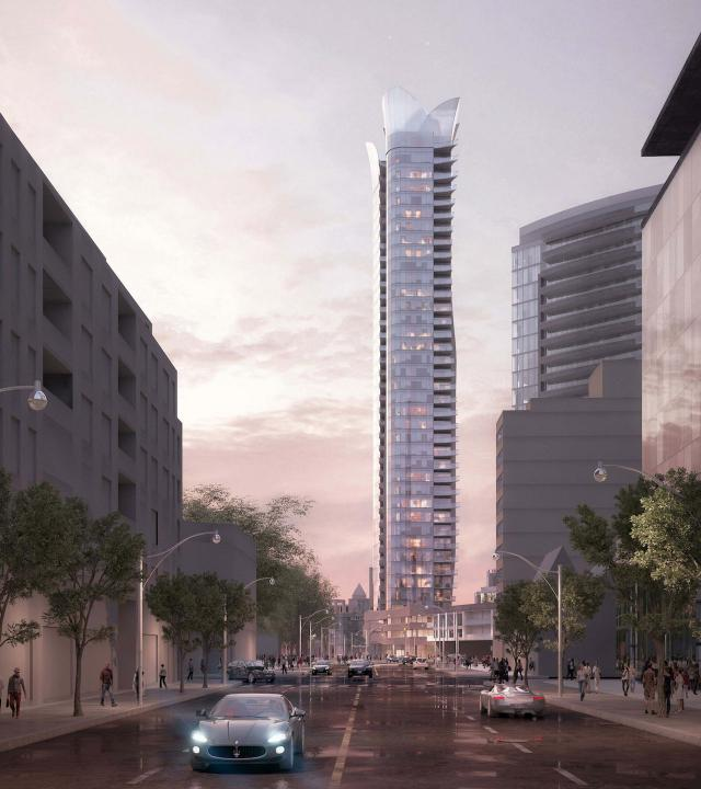 100 Davenport, as seen looking north on Bay Street from Yorkville, image courtesy of Diamante Development