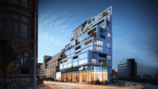 Looking southeast to 1181 Queen Street West, designed by Quadrangle for Skale Developments