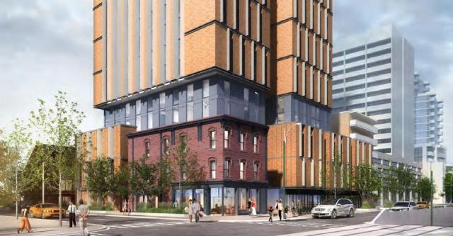 Looking northwest to the Spadina and Sussex Mixed Use Residence