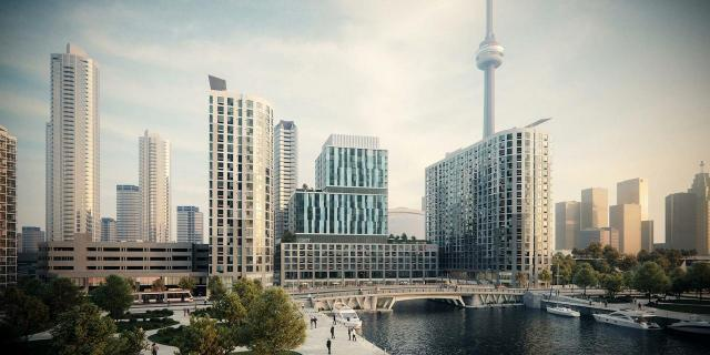 Looking north to The Quay, Tower Three, designed by Quadrangle Architects for Coal Harbour Properties