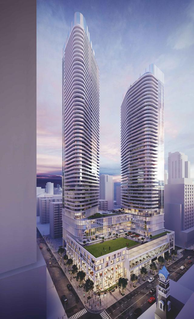 Updated rendering of 475 Yonge Street by Quadrangle Architects for KingSett Capital