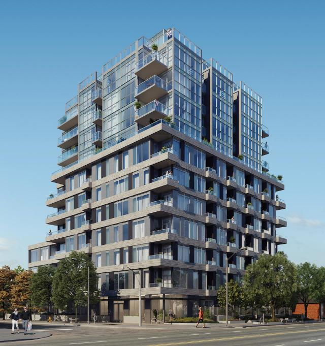 Looking northeast towards The Cardiff, at 492 Eglinton East, by RAW Design for Sierra Building Group