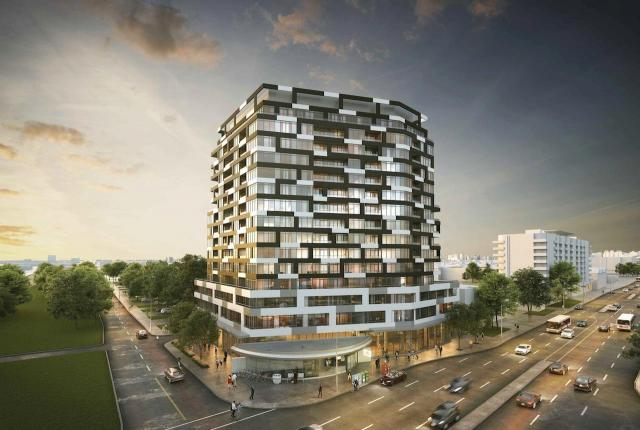 Looking northeast to 1050 Sheppard Ave West, designed by Wallman Architects for Choice Properties REIT and Greenwin
