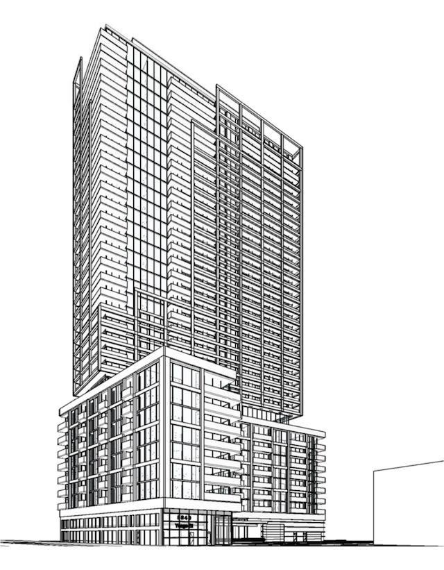 Looking northwest to 5840 Yonge Street, designed by Quadrangle for Plaza
