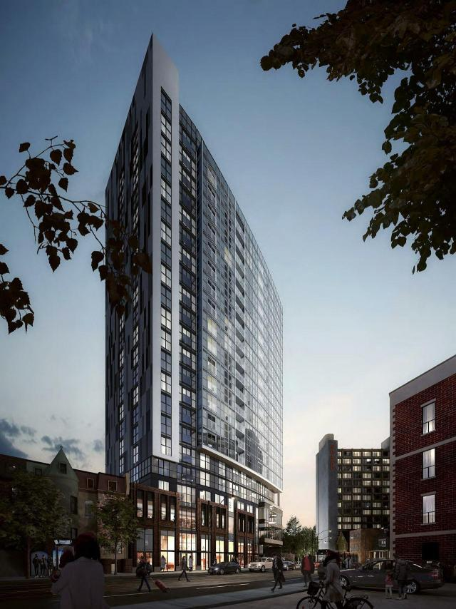 Looking southwest across Dundas Street to in.DE Condos, designed by Turner Fleischer Architects for Menkes