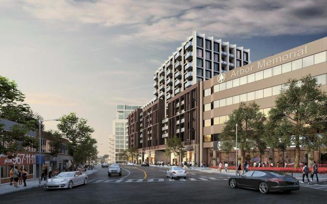 Looking west to 2452 Bloor Street West, designed by Quadrangle for Plaza