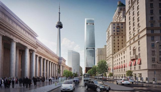 156 Front West seen from outside Union Station, image by AS+GG Architecture and B+H Architects for Cadillac Fairview