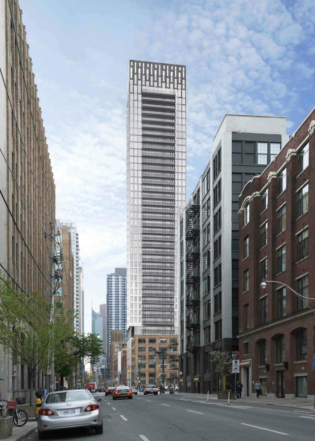 Looking east to 46 Charlotte, 41-storey version, designed by Architecture Unfolded for Cityzen Group and Fortress RDI