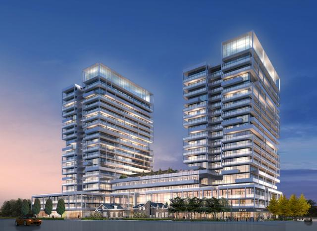 Dusk at Rain Condominiums Oakville, image courtesy of Empire Communities