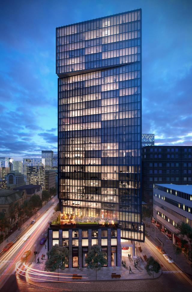 Looking north to Fleur Condos, designed by architectsAlliance for Menkes