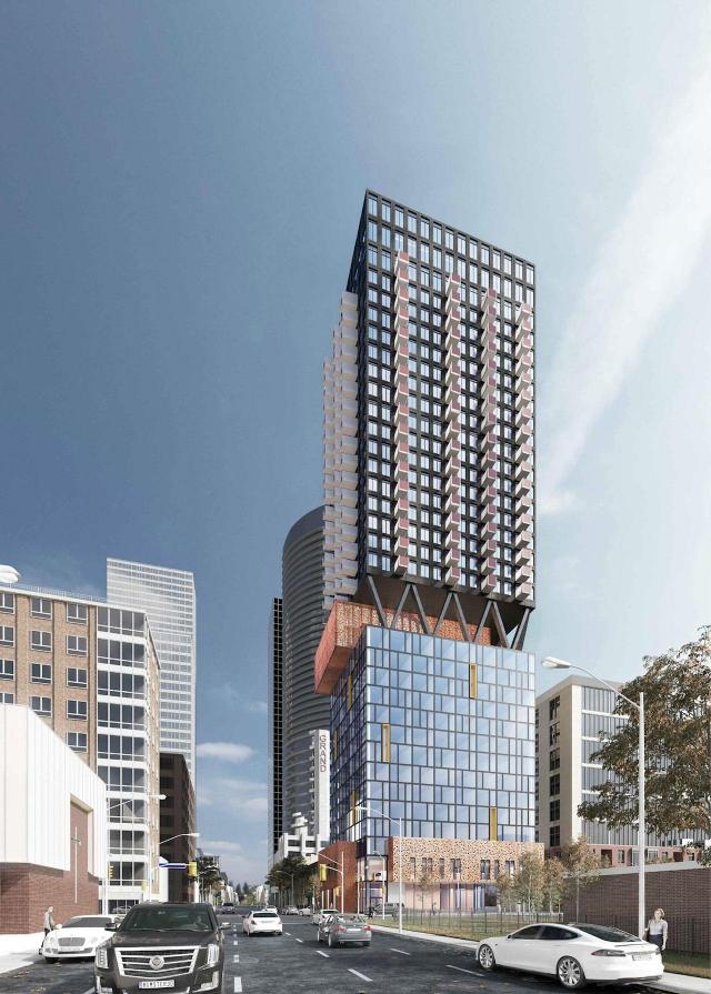 Looking north to 203 Jarvis Street, designed by IBI Group for Manga Hotels