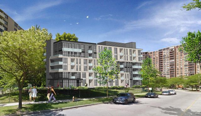 6-storey apartment building to be added to 70 Dixfield site, image courtesy of H&R Developments