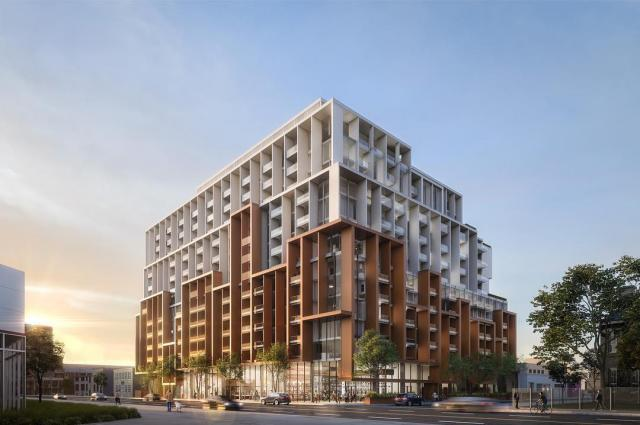 Looking west to 18 Eastern Avenue, image by Norm Li, designed by Teeple Architects for Alterra