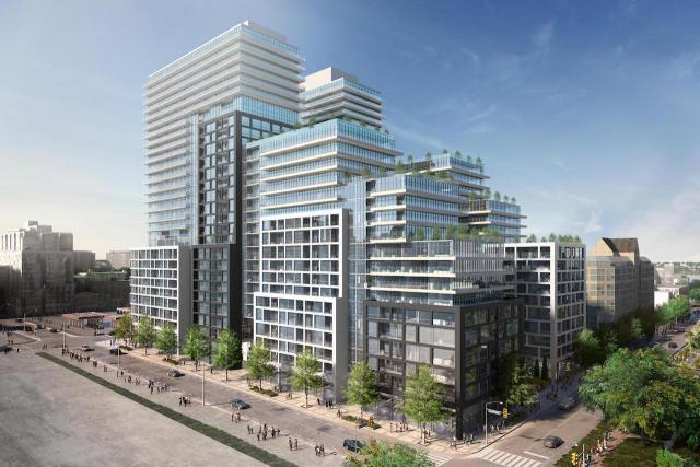 Looking northeast to Time and Space Condos, designed by Wallman Architects for the Pemberton Group