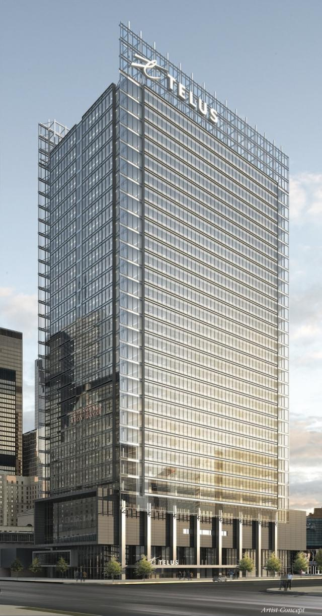 Telus House, 25 York St, looking northeast, image courtesy of Menkes