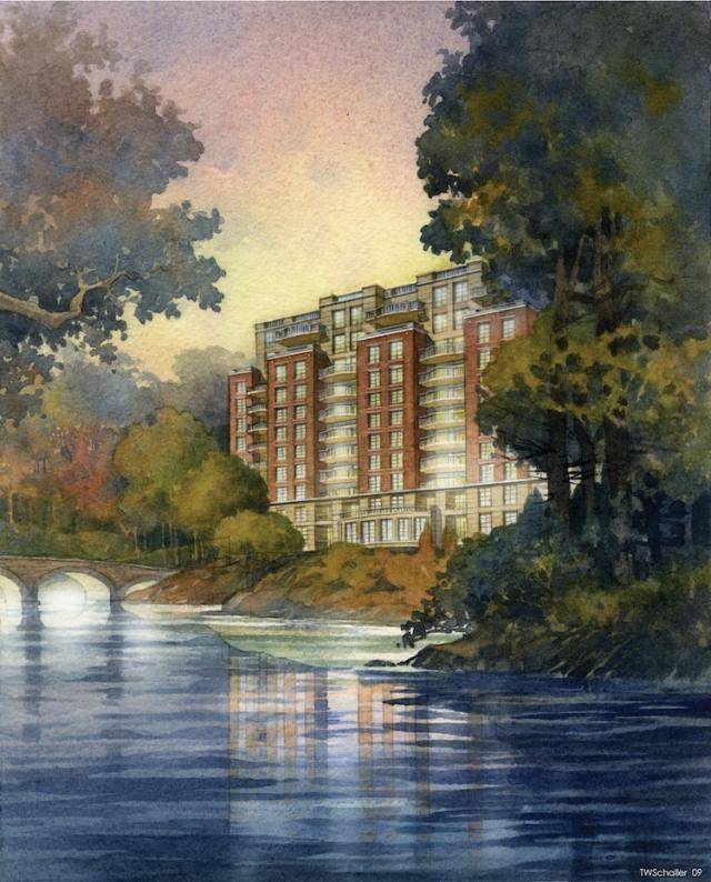 Riverhouse condominiums at The Old Mill, seen across the Humber, image courtesy of Lanterra Developments