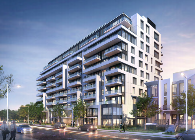 Looking southwest to 25 St. Dennis Drive, fourth version designed by Kirkor Architects for Preston Apartments
