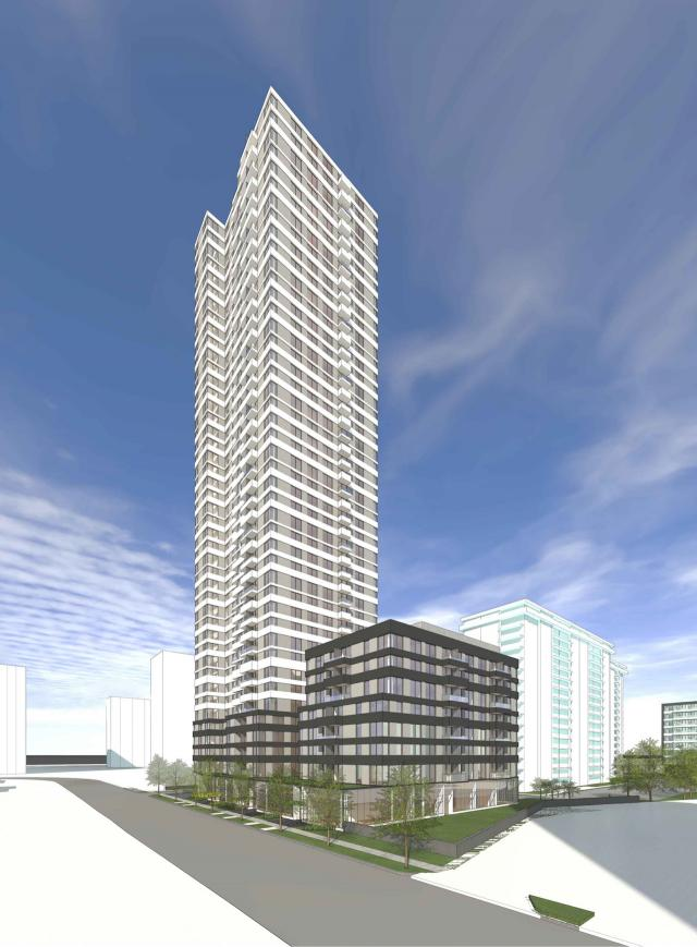 Rendering looking west onto the site, image retrieved via submission to the City of Toronto