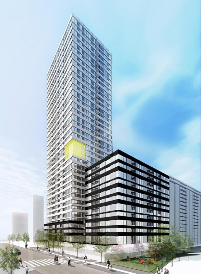 Northwest view, 25 St. Dennis Drive Condos, Toronto, by SvN Architects, Preston Group