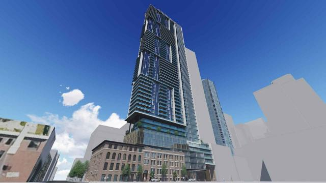 Looking up at 150 Pearl from the southwest, image via submission to the City of Toronto