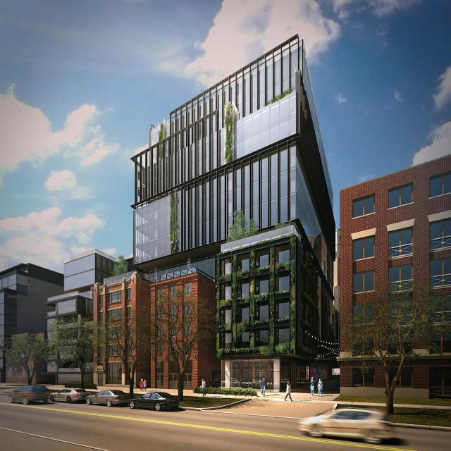 Looking northwest to 474 Wellington Street West, designed by architectsAlliance for Hullmark and Doubledown