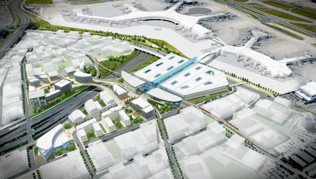 Looking south to the Pearson Transit Hub, image courtesy of the Great Toronto Airports Authority