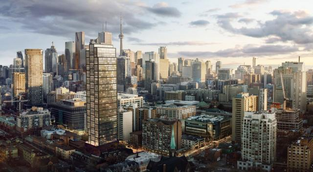 PRIME Condos, aerial view looking southwest, designed by IBI Group for CentreCourt Developments and Centrestone