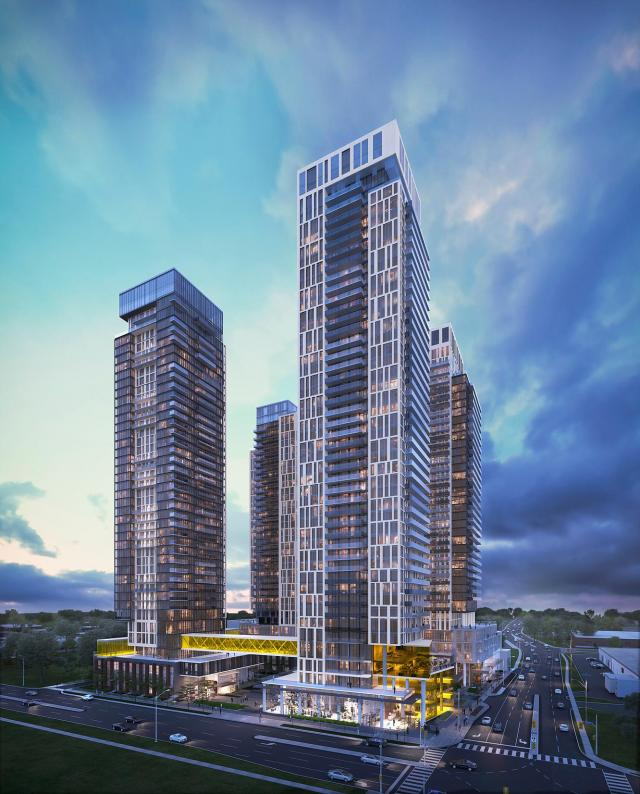 Looking southwest to Brimley and Progress Towers, by A& Architects for Atria Development