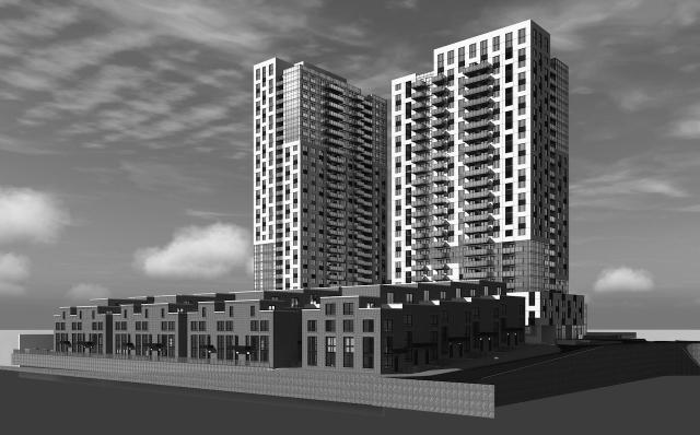 Looking southwest to the towers and townhomes of 980 Lansdowne, designed by Gabriel Bodor Architect for Neudorfer