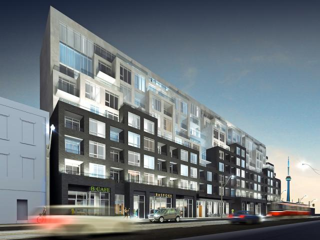 Bathurst Street view of B.streets Condos, image courtesy of Lindvest Properties